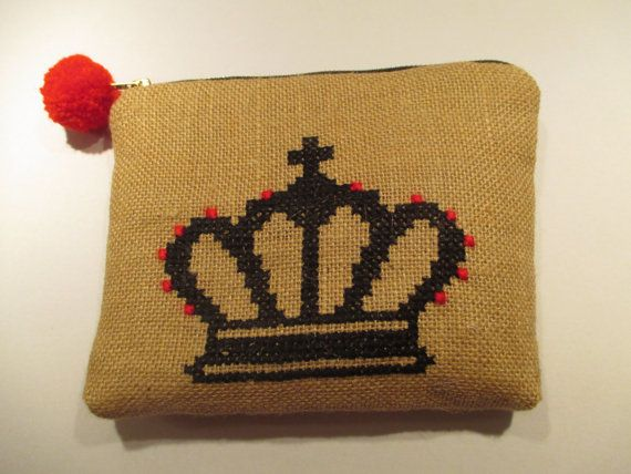 Acessories burlap pouch cross stiched embroidered with by Apopsis
