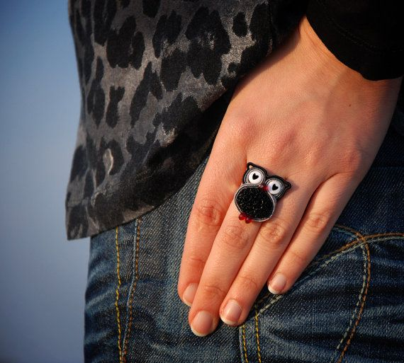 Statement owl ring Animal miniature Woodland bird by MyFantasies