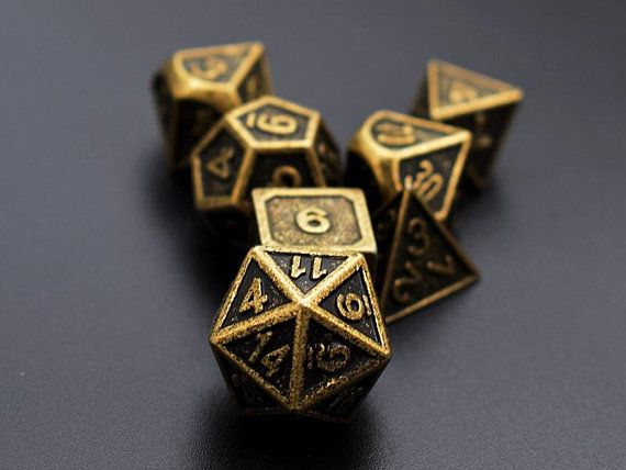 Antique Brass Dice Set For Dungeons And Dragons Dnd Dice Etsy In 2020 Dungeons And Dragons Solid Metal Dungeon