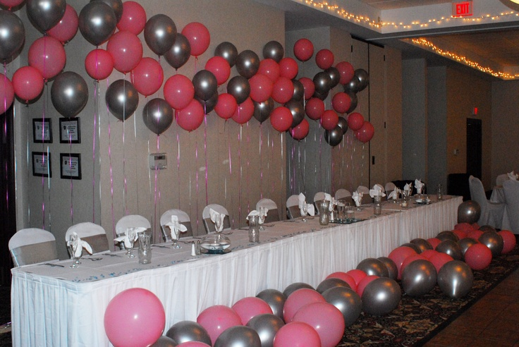 Head table decorated with balloons silver and pink wedding for Balloon decoration color combinations
