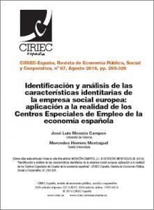 Identificación y análisis de las características identitarias de la empresa social europea: aplicación a la realidad de los Centros Especiales de Empleo de la economía española   Portal de la Responsabilidad Social, del Emprendimiento Social y de la Economía del Bien Común