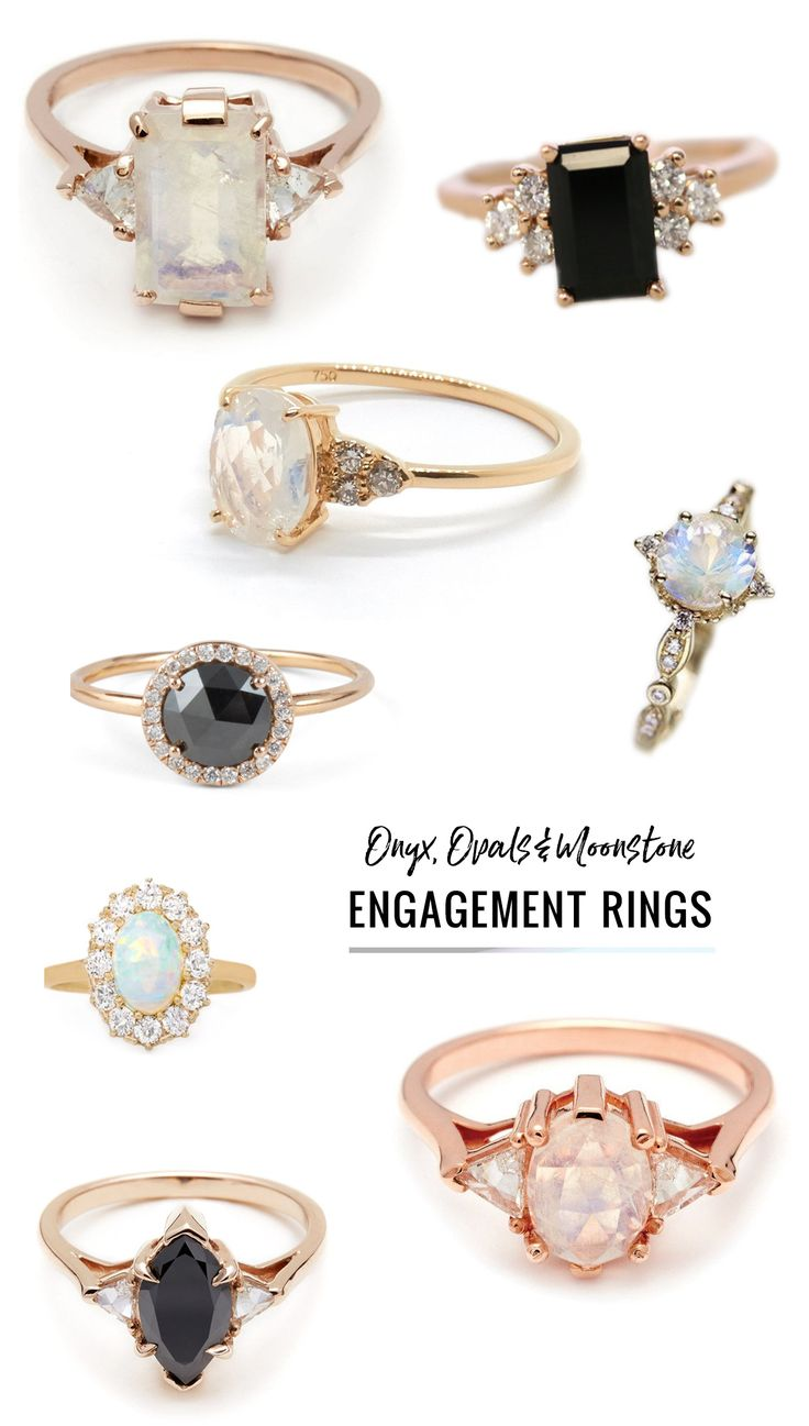 onyx, opals and moonstone engagement rings // diamond alternative engagement rings featuring a colored stone