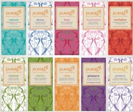 Pukka Teas are organic and carry such a great selection of blends  - plus I love the pretty boxes in my kitchen cabinet. #tea #organic