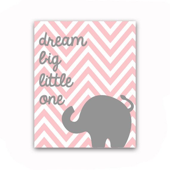 Elephant Nursery Art Dream Big Little One Large 16x20 Chevron Elephant Nursery Art Print on Etsy, $38.00