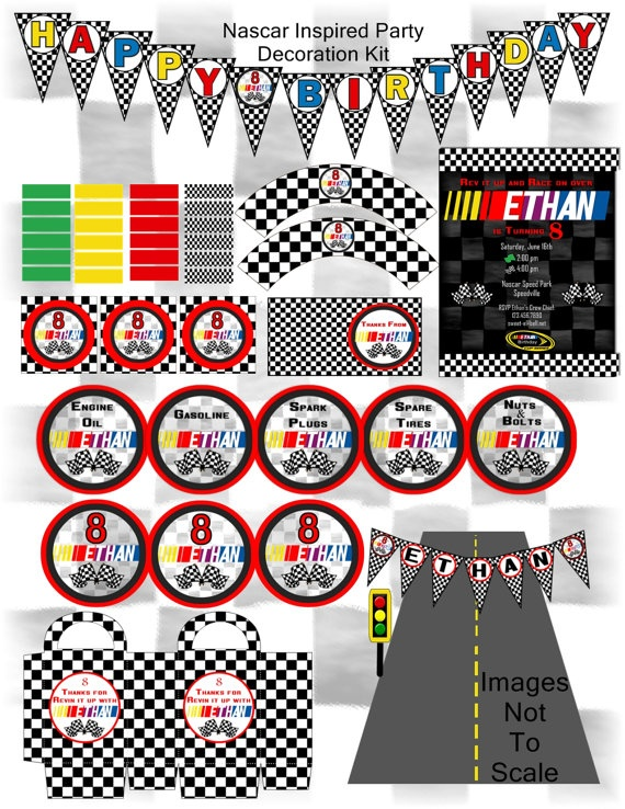 15 best nascar party images on pinterest birthdays nascar party printable nascar inspired party decoration kit customized decorations invitations and party favours everything filmwisefo Choice Image