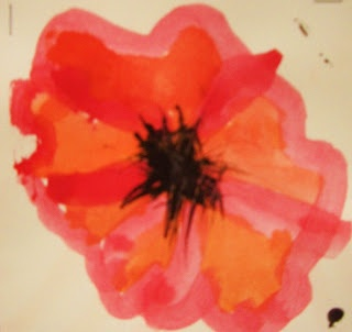 DREAM DRAW CREATE Art Lessons for Children: Veteran's Day Poppies with blown centers. Tempera cakes