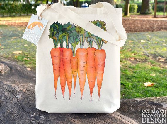 Carrots Tote Bag Ethically Produced Reusable Shopper Bag Farmers Market Bag Cotton Tote Shopping Bag Eco Tote Bag Reusable Grocery Bag by ceridwenDESIGN http://ift.tt/29O6crO