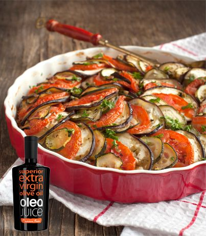 Aubergines, Courgettes, Potatoes and Feta cheese all cooked in the oven with Olea Juice olive oil.
