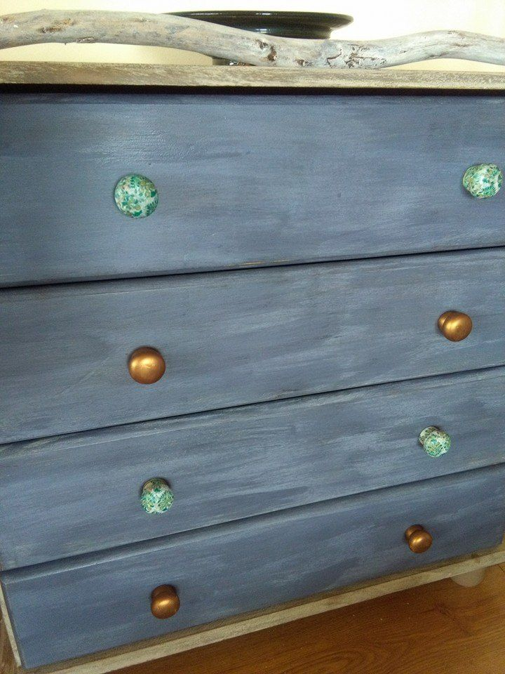 Chest of drawers using coastal colours from The Crafty Bird Milk Paints www.milkpaint.ie