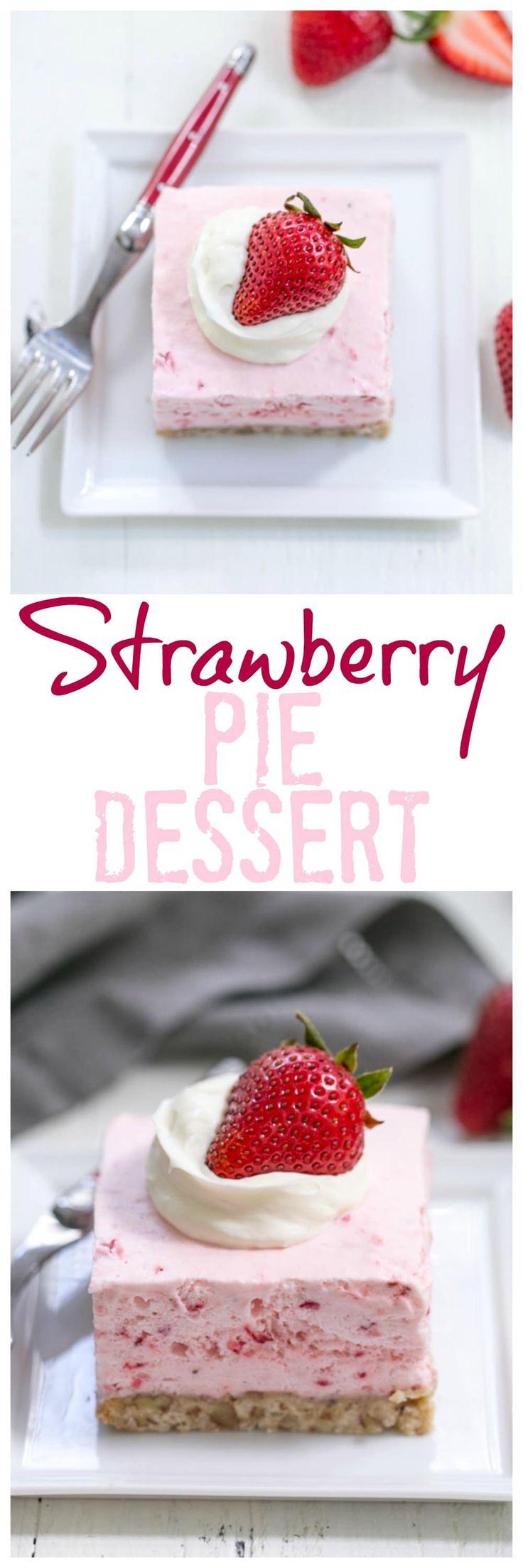 Strawberry Pie Dessert | A dreamy frozen strawberry fluff dessert!