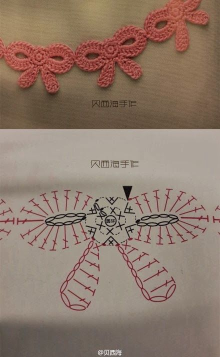 Crochet bow applique diagram.
