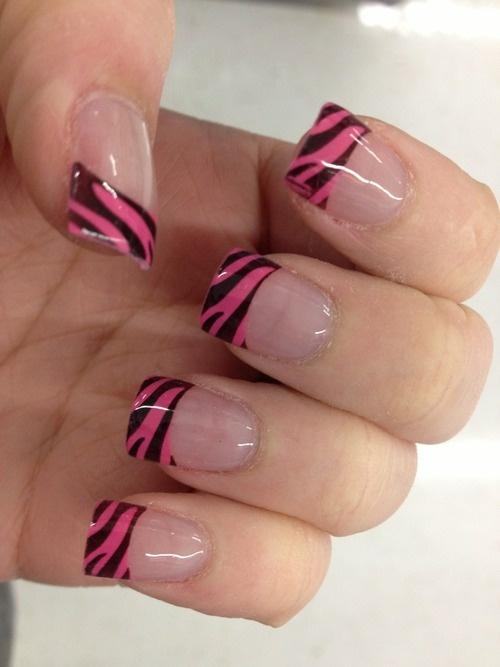 Pink Zebra French Tips