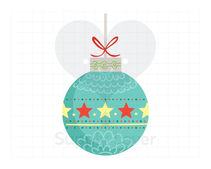 TURQUOISE CHRISTMAS BAUBLE Clip-Art Commercial Use, Christmas Decor, Ball, Round, Star, Single, Aqua, Bow, Hand Drawn, Red, Yellow - A0005
