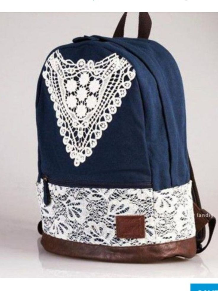 Fashion College Style Triangle Lace Canvas Backpack only $35.99