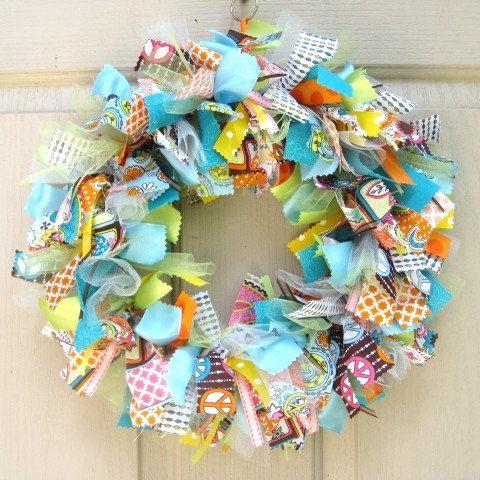 Summer Wreath  Fabric WreathRag Wreaths, Ribbons Wreaths, Wreaths Fabrics, Summer Wreaths, Front Doors, Fabrics Wreaths, Ribbon Wreaths, Blue Wreaths, Wreaths Ribbons