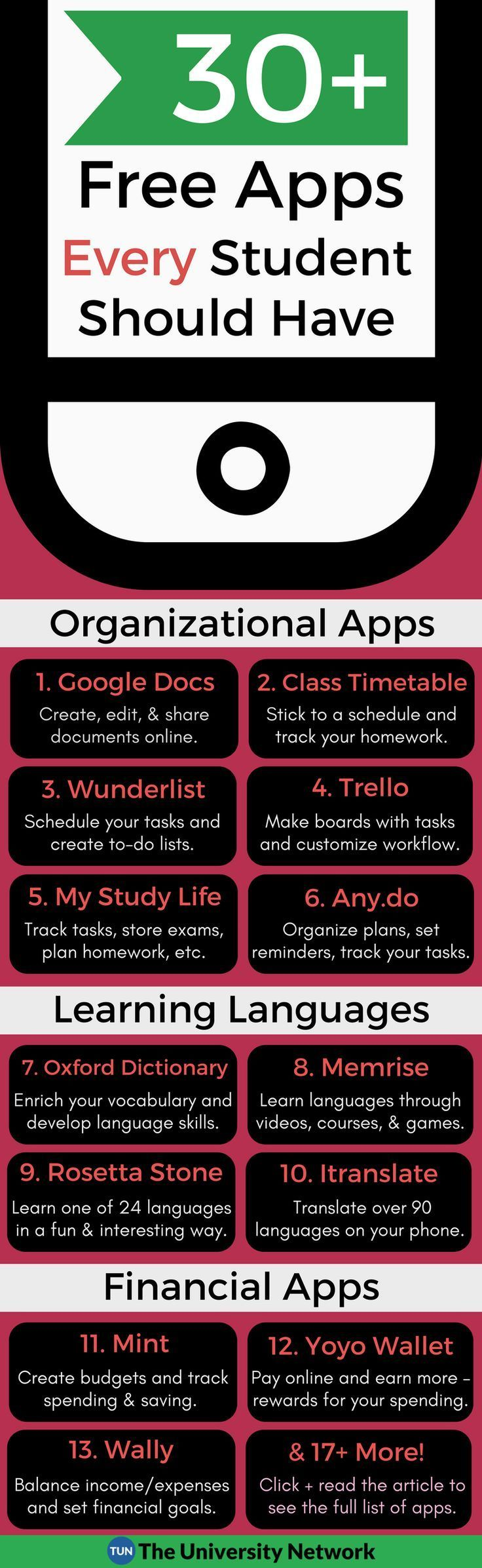 Here is a list of 30+ FREE APPS every student should know about and have on their phones!