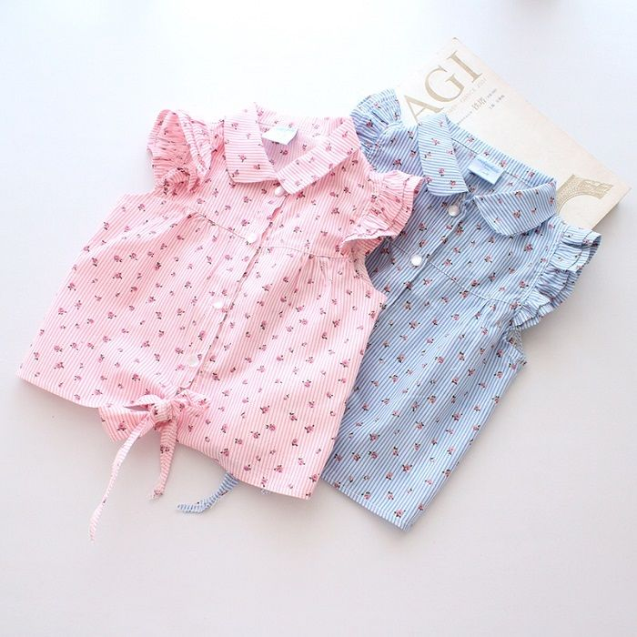 Hot New 2014 Spring Summer Baby Girl Blouses Kids Shirts Fantasy Children Shirt Casual Floral Cotton Clothing Child Clothes Wear $5.28