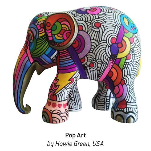 """'Pop Art' by Howie Green from the U.S.A. """"My grandson is the inspiration for this elephant design. When he was a small child he was obsessed with dinosaurs and elephants. I would take him to the toy store near my studio and he would take all the toy elephants down off the shelves and line them up in a parade in the aisle."""" #ArtboxContestFinals #ElephantParade #Art #Contest #Anantara #Bangkok #ElephantParadeBKK #Conservation"""