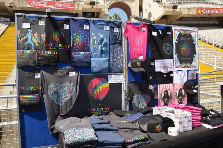 photo of the merch stand. (Lots of these available at the Coldplay Store.)