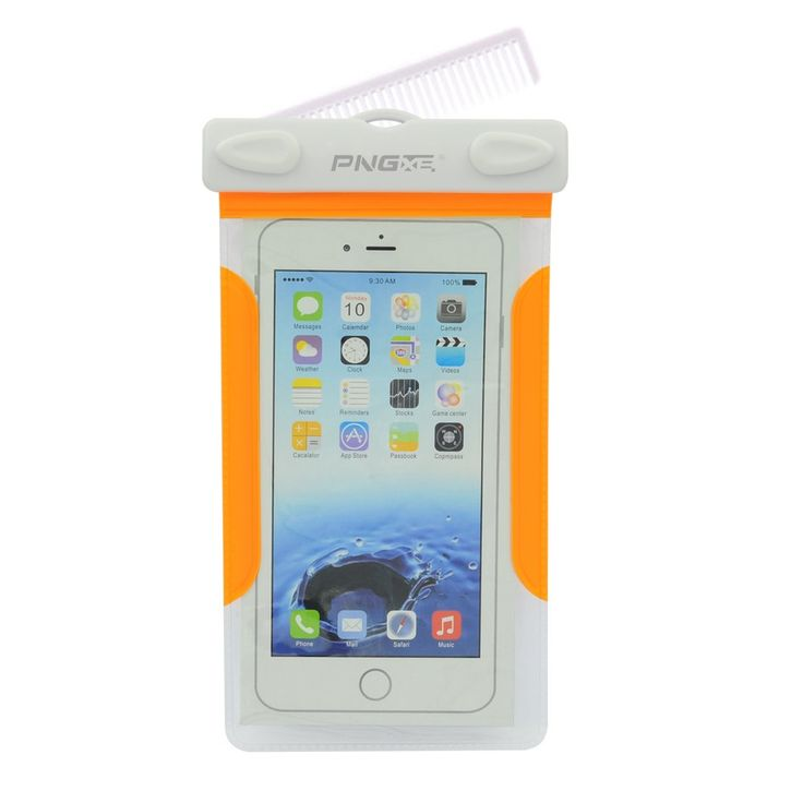 "Waterproof Case, Universal Bag Pouch Cover for Smartphones, Iphone 6 / 6s /6 Plus /6s Plus / Samsung / HTC (Orange). Universal size waterproof case bag fits all smartphones up to 6.0"" diagonal size (Certain big screen phones need to remove protective case); Credit card wallet money waterproof dry bag for beach, fishing and water park activities. With Hair Comb,Clear Window on both front and back sides, perfect for taking pictures, videos and checking emails. 100 feet IPX8 Certified..."