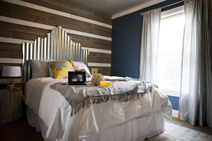 Industrial style-Metalic headboard made from roofing tin