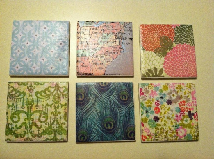Scrapbook And Modge Podge Coasters On Bathroom Tiles