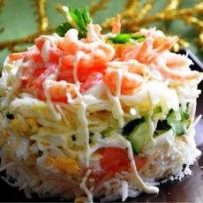 Слоеный салат из красной рыбы