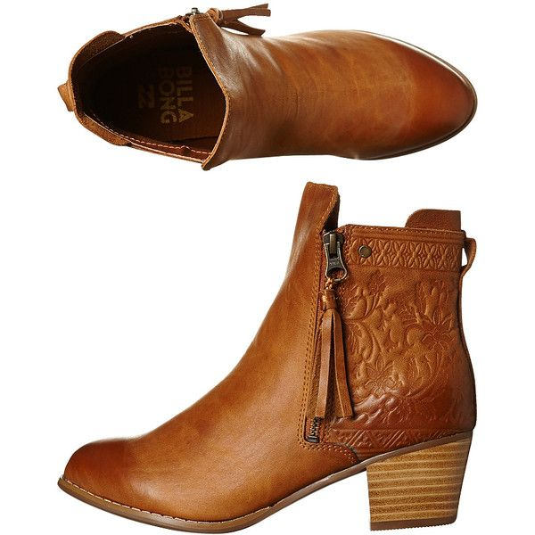 Billabong Bohemian Dreams Leather Boot found on Polyvore featuring shoes, boots, tan, boho chic boots, billabong, tan leather boots, genuine leather shoes and genuine leather boots