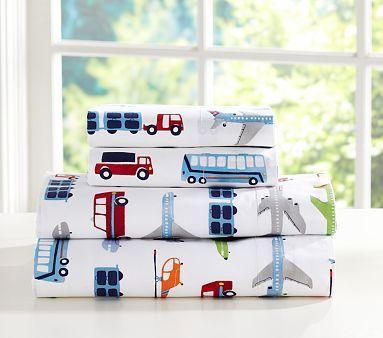 Transportation themed little boys' room - Brody Sheeting #PotteryBarnKids