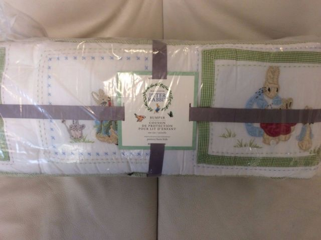 Pottery Barn Kids Peter Rabbit Beatrix Potter Quilted Crib Bumper NWT