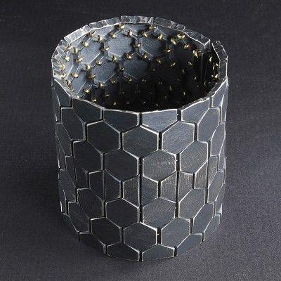 Patina Gallery - Bracelet, Hexagon, Grey Sterling Silver, 18k Gold. Artist - John Iversen