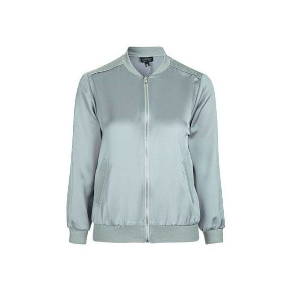 TopShop Petite Satin Bomber Jacket ($92) ❤ liked on Polyvore featuring outerwear, jackets, grey, bomber style jacket, light weight jacket, flight bomber jacket, blouson jacket and satin jackets