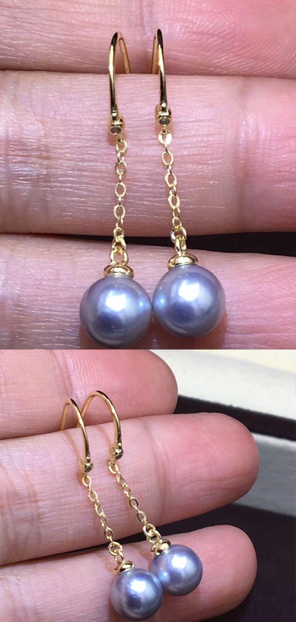 real Sea Pearl Earrings Tiny Pearl Earrings grey Dancing Pearl Earrings Bridesmaid Earring grey Sea Pearl Drop Earrings
