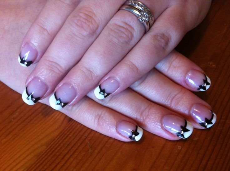 CND Shellac Nail Art   French Manicure With Black Bows