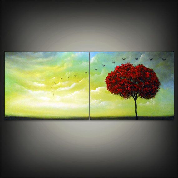 mid century abstract tree painting bird painting cloud by mattsart, $175.00