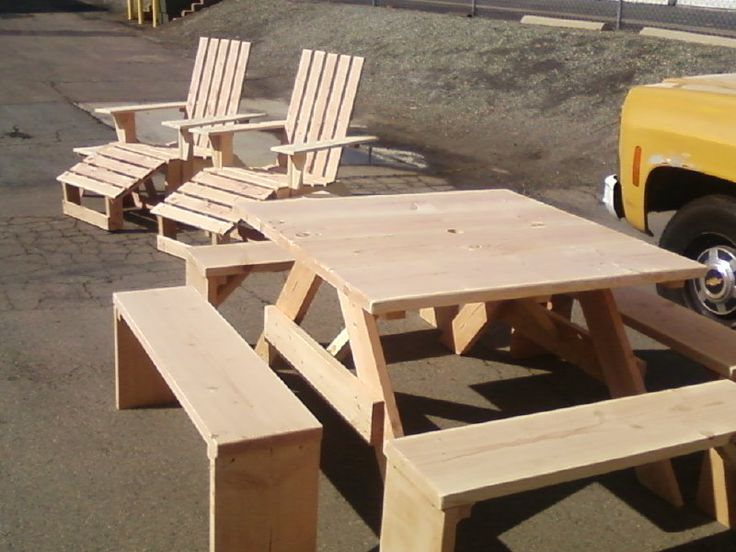 4ft Square, Douglas Fir Picnic Table With Four Separate 4ft Benches And,  Two Squared