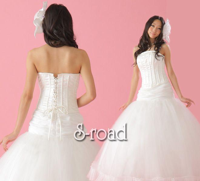 ホワイトウエディングドレス●シンプルなシルエットがキレイなローウエストプリンセスドレス