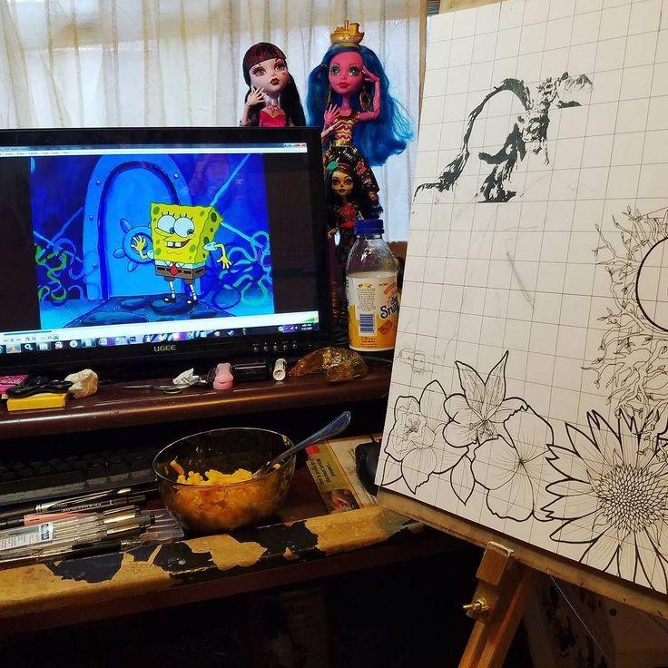 Spongebob and macaroni fueling my gvf art because I'm a child #art #poster #gretavanfleet #jointhefleet #rock #rocknroll #artistsoninstagram #artistsofig #spongebob #cartoons #spongebobsquarepants #monsterhigh #macaroni #food #penandink #ink #baby #derp