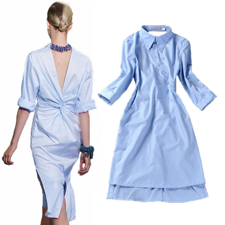 HIGH QUALITY New 2014 Runway Fashion Women's Novelty Back V Open Asymmetrical Designer Shirt Dress //   Цена: $ US $18.40 & Бесплатная доставка //    #fashionmartonline #мода #стиль