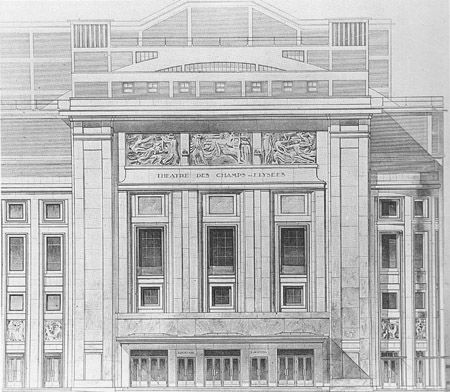 Elevation of the facade of the Théâtre des Champs-Elysées, preparatory drawing. Auguste Perret c. 1908