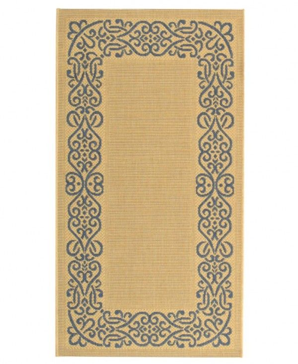59% Off - MANUFACTURER'S CLOSEOUT! Safavieh Rugs, Courtyard Indoor/Outdoor CY1588 Natural/Blue