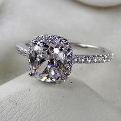 Online Shop Princess Cut Gemstone Ring!3 Carat Classic Halo Style Cushion Shape , SONA dimond ,engagement & wedding rings,valentine gift!|Al...
