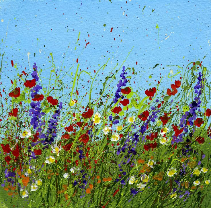 Splattered Paint Flower Art Ideas-Wild Flowers-myflowerjournal.com