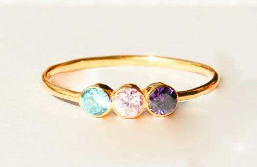 Mothers birthstone ring with 3 preffered birthstones.It is a special gift for a mother to represent her lovely family:)