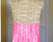 Dictionary Dress with woodgrain, from a vintage 60's pattern