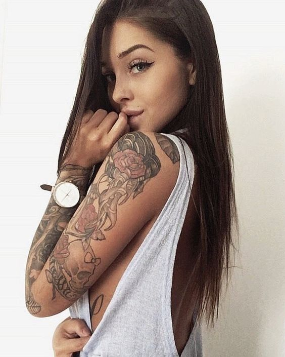 You head sexy girl with sleeve tattoos