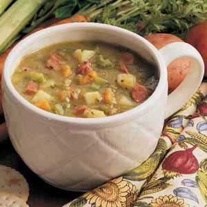 Aunt Joy recommends: Hearty Split Pea Soup Recipe | Taste of Home Recipes