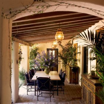 Eating area: Dining Area, Covers Patio, Lights Fixtures, Outdoor Living, Outdoor Rooms, Outdoor Patio, Mediterranean Patio, Outdoor Spaces, Patio Ideas