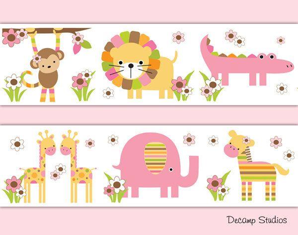 SAFARI ANIMALS NURSERY Baby Girl Wallpaper Border Wall Art ...
