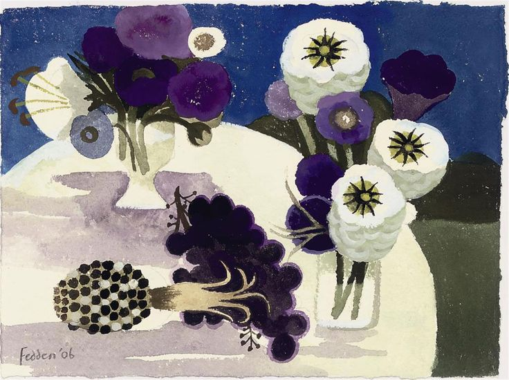 Mary Fedden, R.A. (b. 1915)  Blue  signed and dated 'Fedden '06' (lower left), signed again and inscribed 'Mary Fedden BLUE' (on a label attached to the backboard) gouache  7¼ x 9½ in. (18.4 x 24.1 cm.)